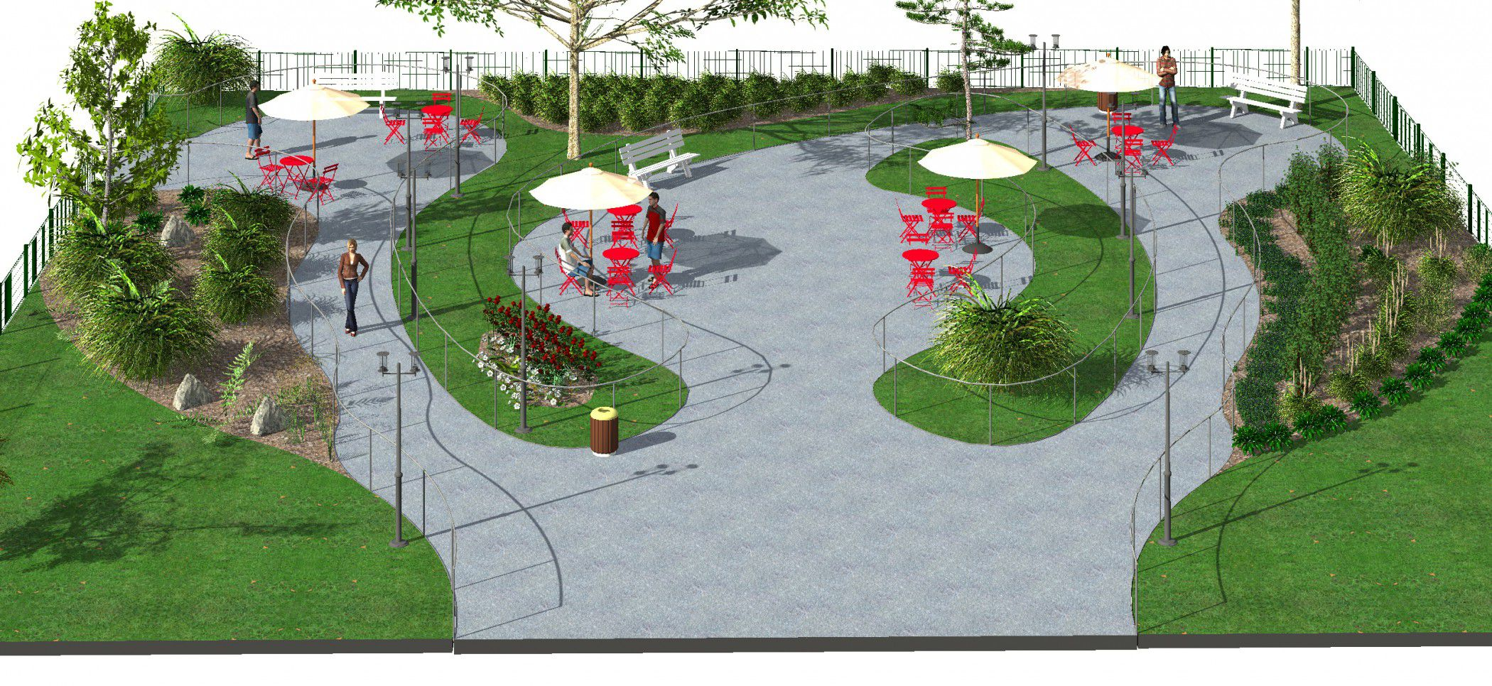 Etude d am nagement d un jardin public 3d architecture for Conception de jardin 3d